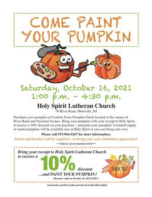 Paint Your Pumpkin Event to Take Place Oct. 16