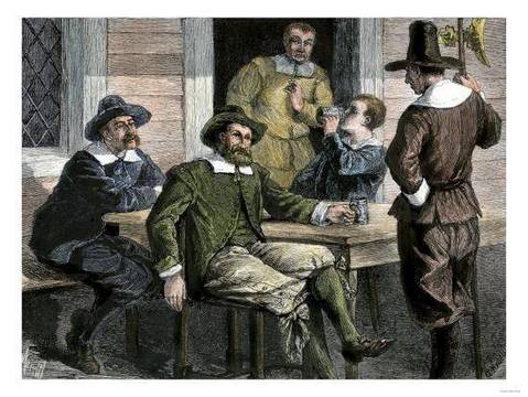 Top story 3e451c86397e47b2d230 puritans drinking from pewter mugs in colonial massachusetts