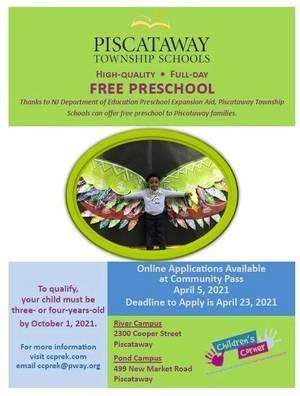 Piscataway Schools Announce Free Preschool Availability for 2021-2022 School Year