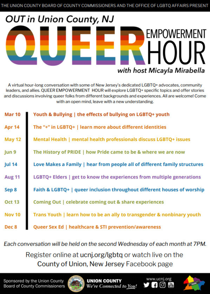 Union County Announces 2021 Queer Empowerment Hour Series; Begins March 10