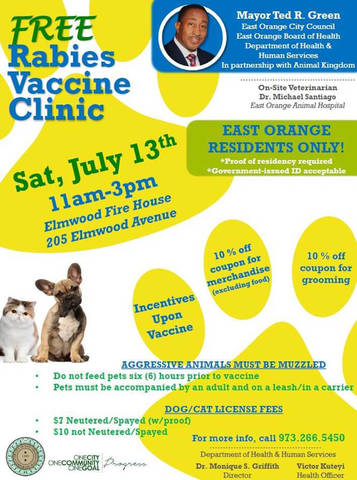 East Orange Partners With Animal Kingdom To Offer Residents Free Rabies Shots For Their Pets Tapinto