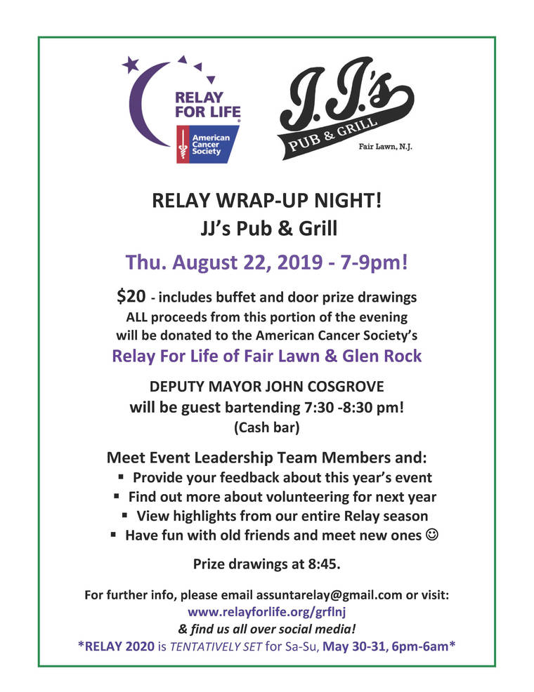 Fair Lawn & Glen Rock Relay for Life Wrap-Up Party: Aug  22   TAPinto