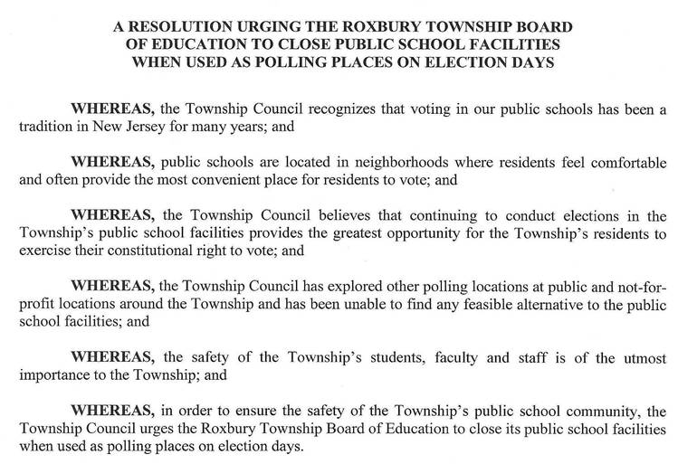 Roxbury Council Urges School Closings on Election Days