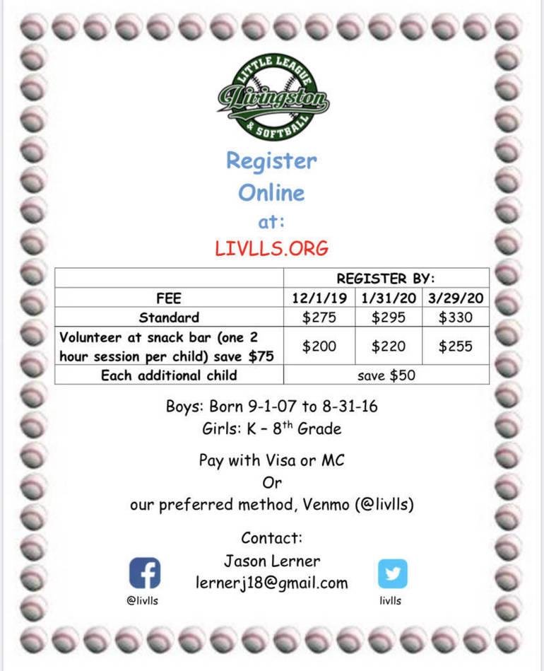 Livingston Little League & Softball Registration is open!