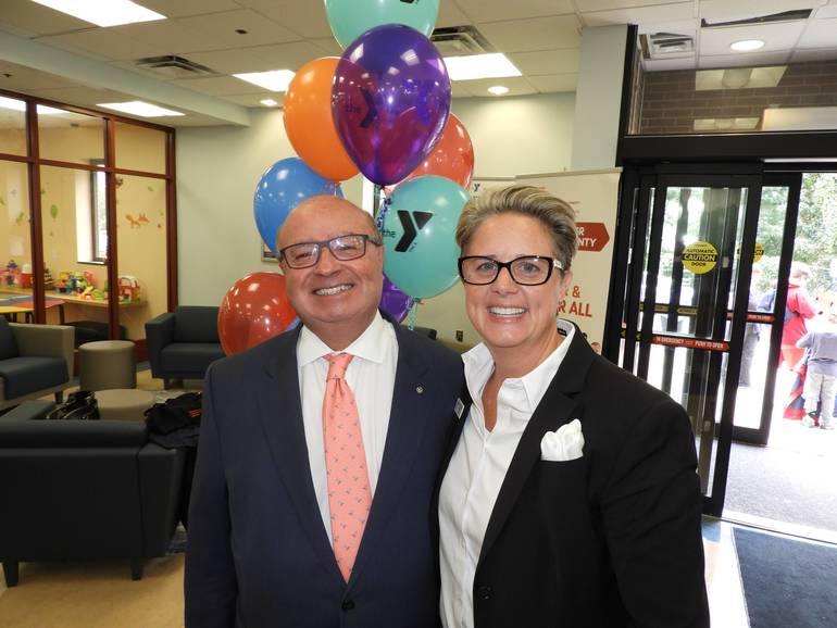 Red Bank Mayor Pat Menna with YMCA President and CEO Laurie Goganzer.jpg