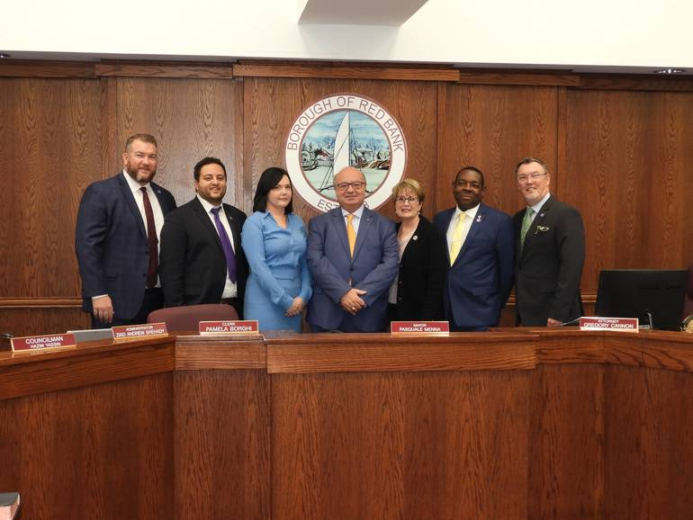 Red Bank Council (l to r) Eric Yngstrom, Hazim Yassin, Kate Triggiano, Mayor Pat Menna, Kathy Horgan, Michael Ballard, Ed Zipprich.jpg