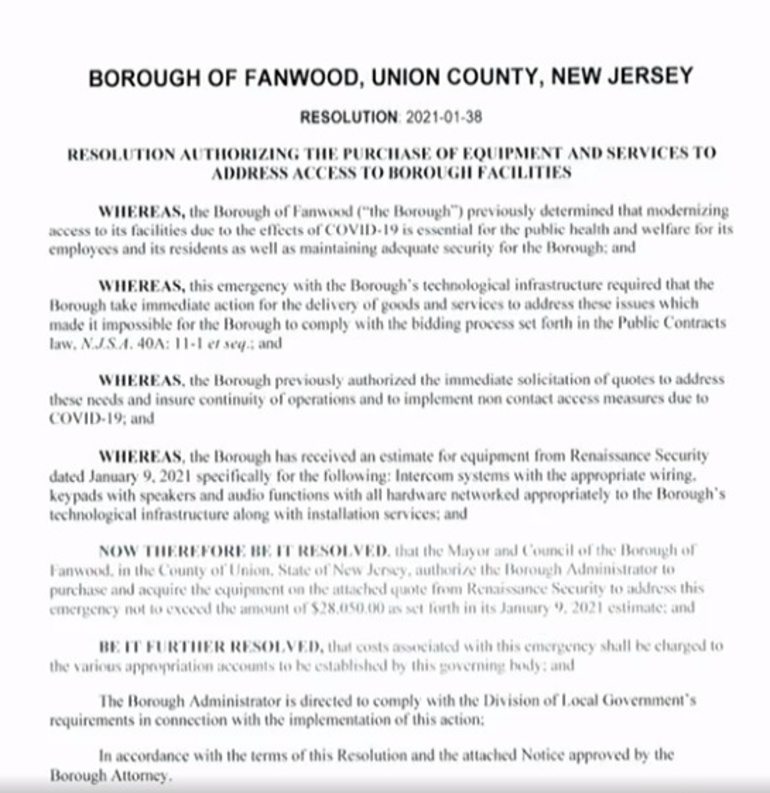 Resolution for Fanwood Borough Hall improvements