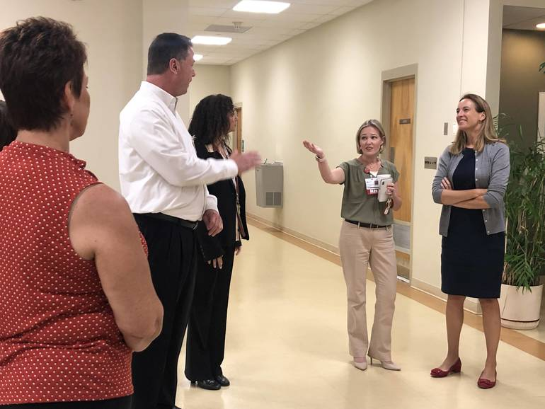 Rep. Sherrill speaks to staff at St. Clare's Hospital in Boonton Aug. 27, 2019.jpg