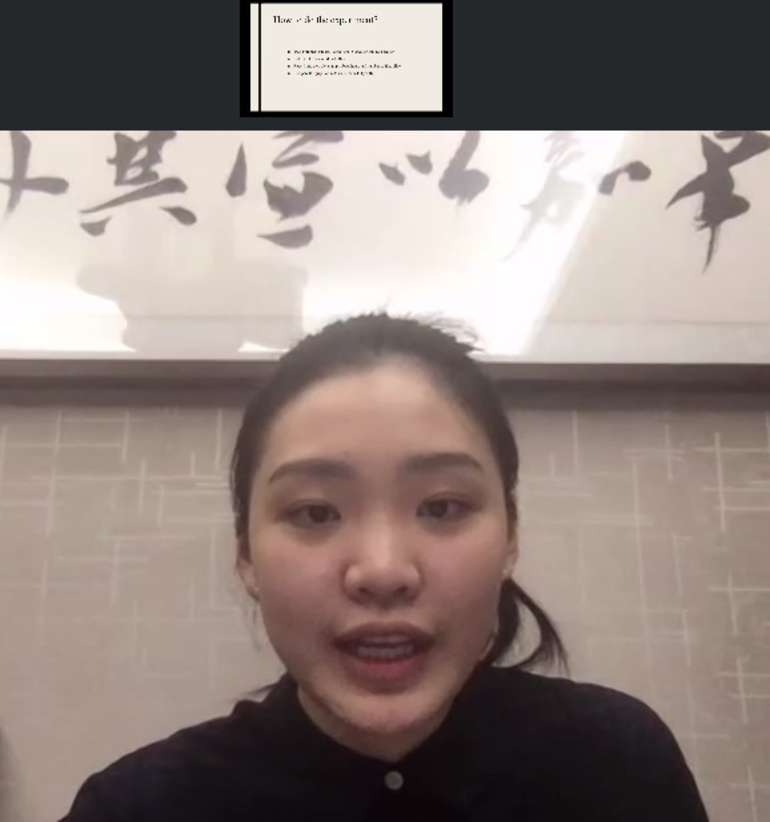 Silvia Xia made an impressive research presentation on Zoom all the way from her home in China.