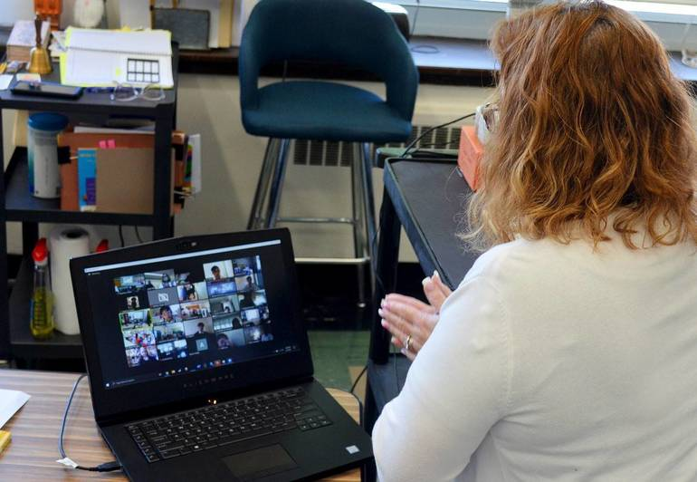 Read Across America Day at Holy Trinity School in Westfield: Dr. Ellis reads remotely.