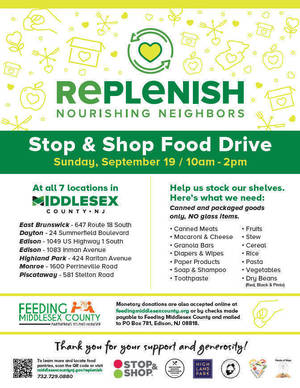 REPLENISH to Host Food Drive at Piscataway Stop & Shop Sunday, Sept. 19