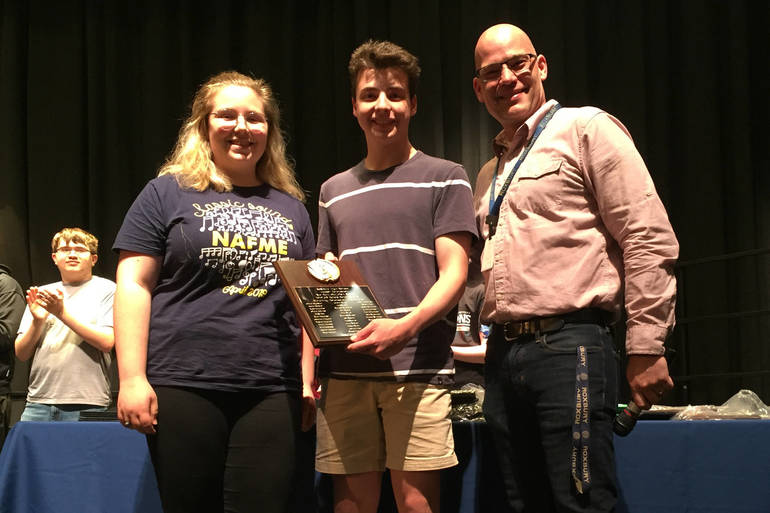 RHS EMiller and ZMaida w Hachey to receive plaque.jpg