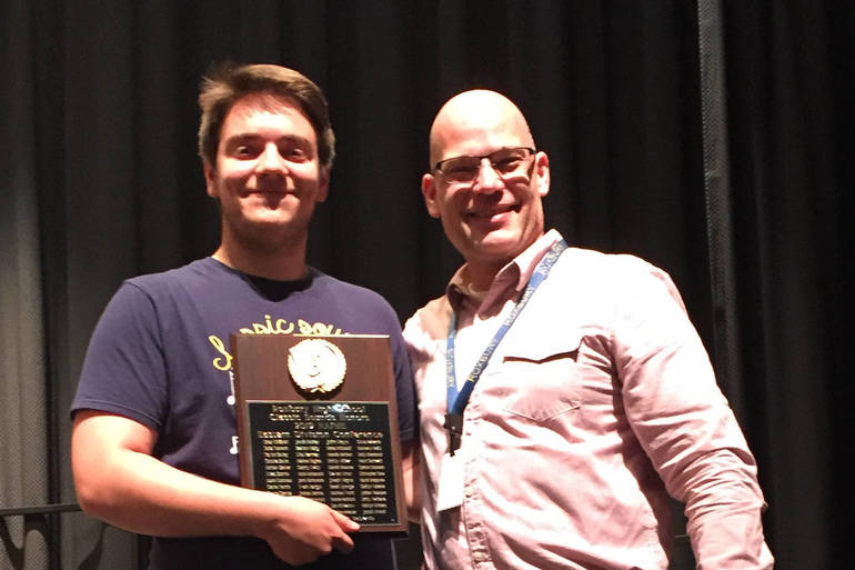 RHS Chris Scire accepts plaque on behalf of RHS Classic Sounds w Hachey.jpg