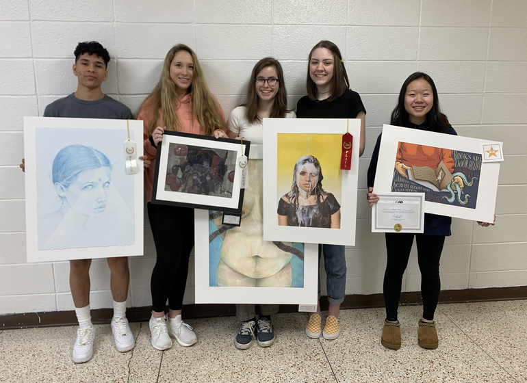 RHS Students with their placed artwork.png