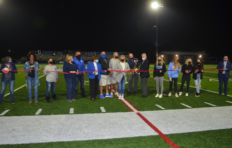 Ribbon-cutting at Scenes from Scotch Plains-Fanwood's first Friday Night Lights game.