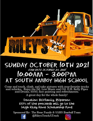 Riley's Touch-a-Truck has been rescheduled for Oct. 24, 2021, at South Amboy High School.