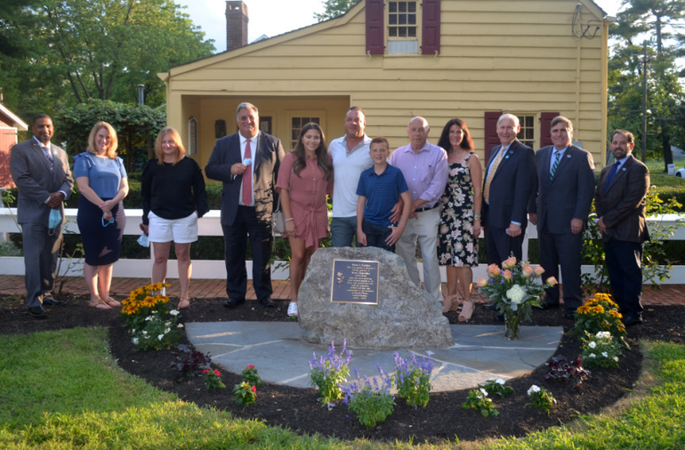 "cotch Plains Council with members of the Checchio Family at the dedication of ""Rose's Garden"""