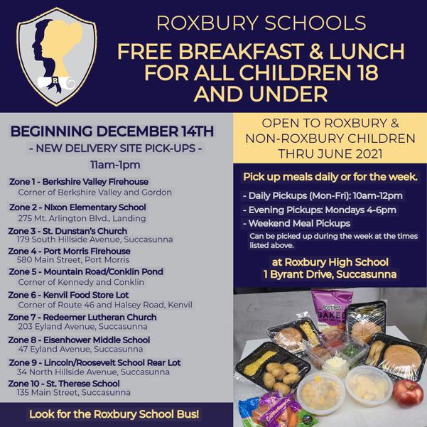 Roxbury Schools New Delivery Sites throughout Roxbury Township