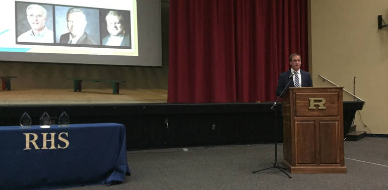 Roxbury Board of Education Member Rich Alexander talks about the Distinguished Alumni Award.jpg