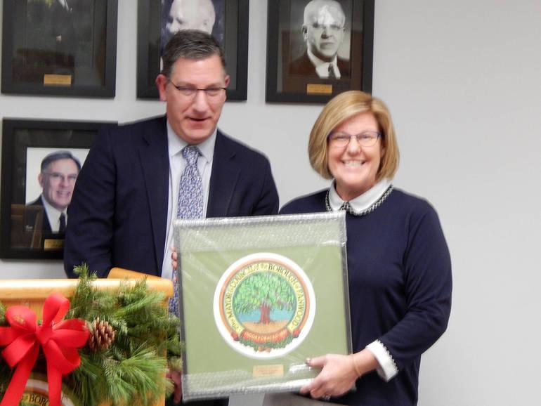 Fanwood Borough Attorney Russ Huegel and Mayor Colleen Mahr