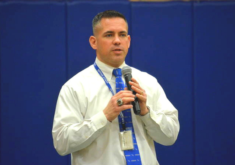 Scotch Plains-Fanwood athletic director Ryan Miller Ryan Miller at Signing Day 2020.png