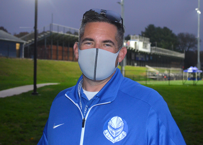 Scotch Plains-Fanwood athletic director Ryan Miller at the Raiders' first Friday Night Lights game.