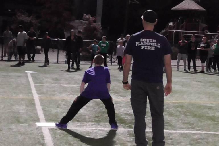 South Plainfield's Police and Firemen Versus Buddy Ball Fall Kickball Team