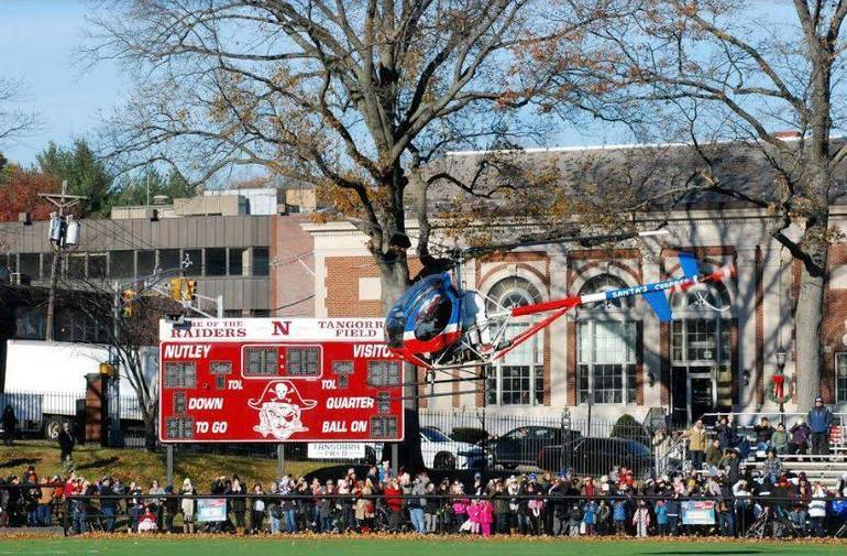 Santa Arrives the Traditional Nutley Way, By Helicopter