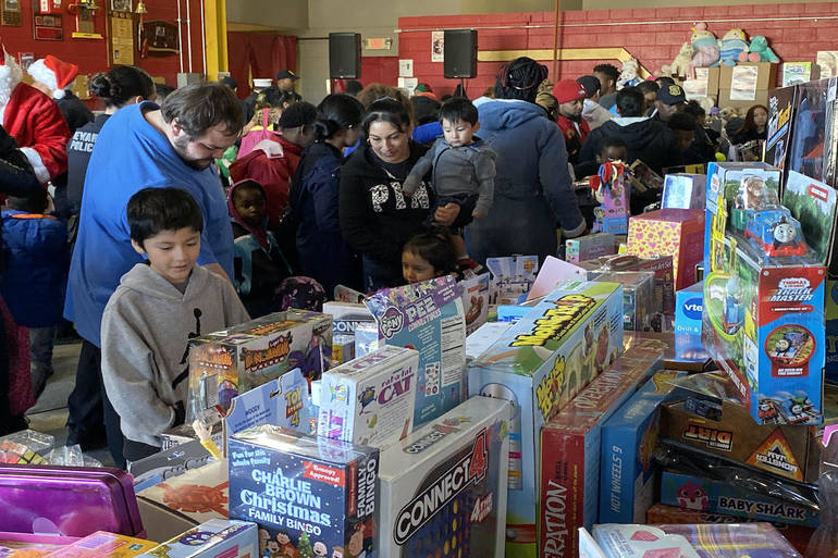 Kids, toy giveaway