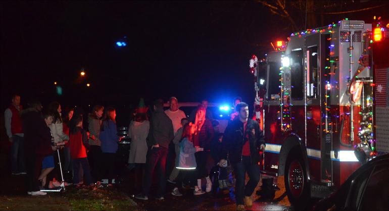 Santa arrives on Helen  St. in Fanwood.