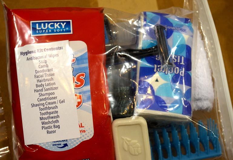 Hygiene package prepared by volunteers at Evangel Church in Scotch Plains.