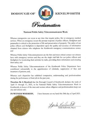Borough Council of Kenilworth Declares National Public Safety Telecommunicators Week