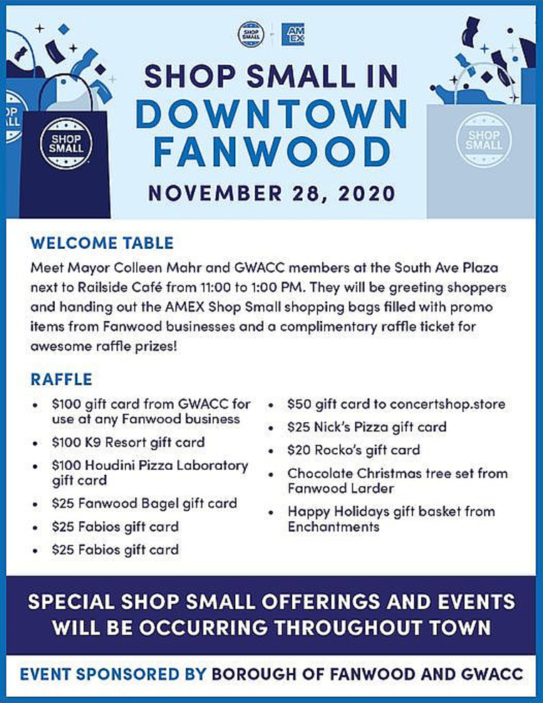 Fanwood to Celebrate Small Business Saturday