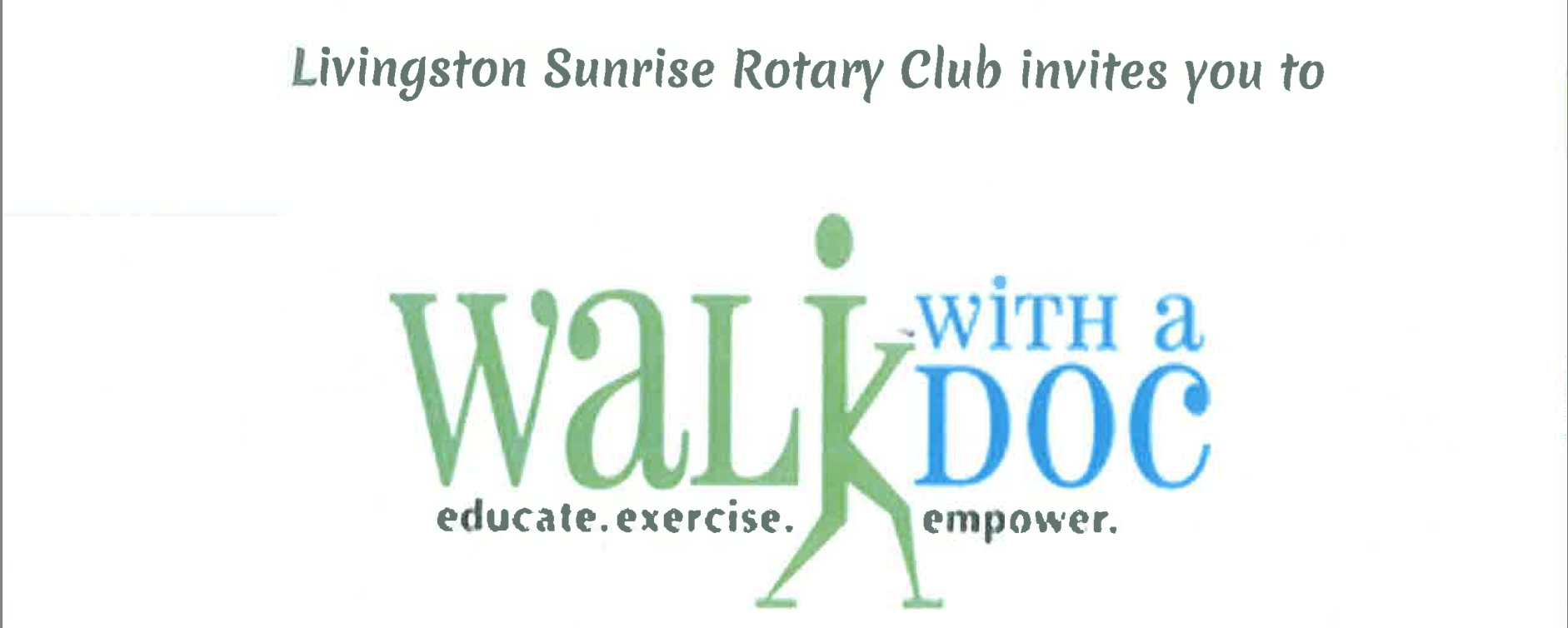 Livingston Sunrise Rotary to Host Walk With A Doc Event