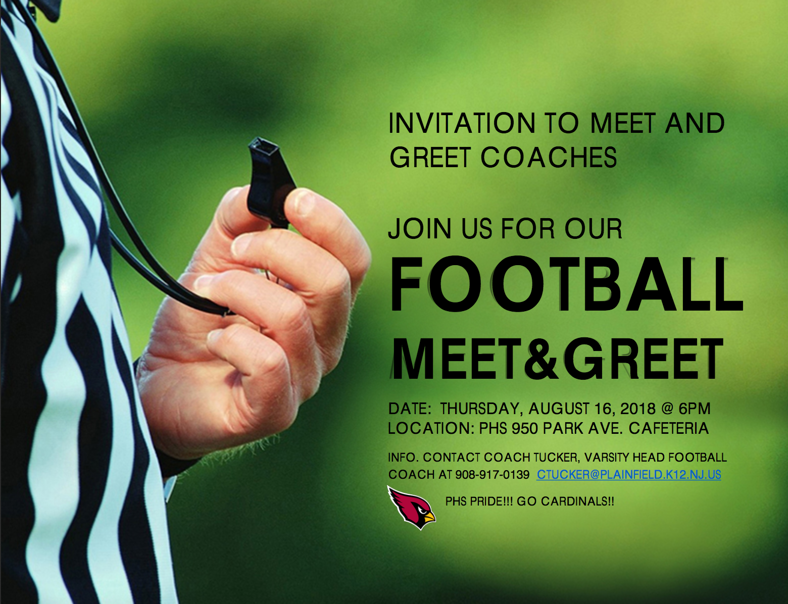 Plainfield Football Coaches to Hold Meet & Greet