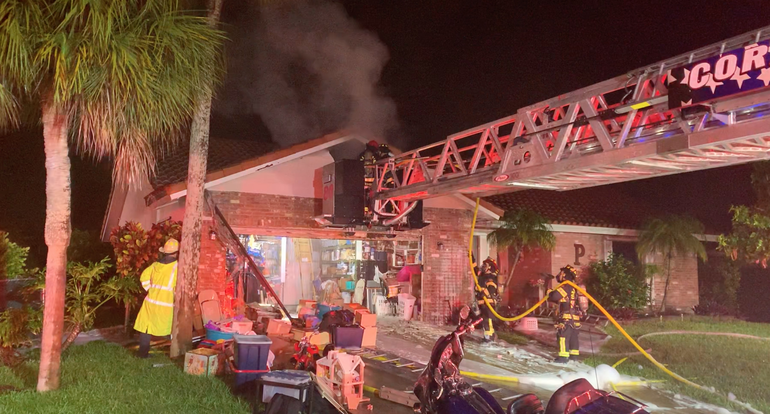 Early Morning Fire Causes Damage To Coral Springs Home, Closes Major Road