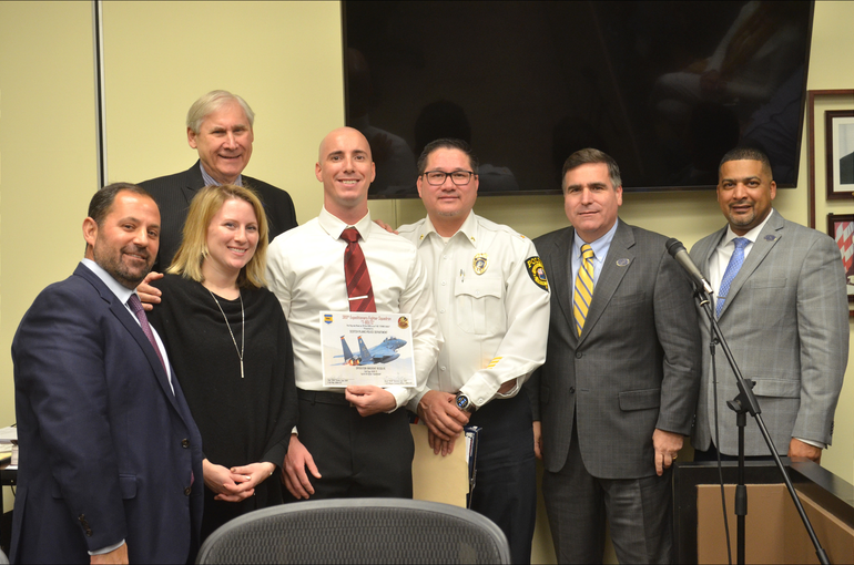 Scotch Plains Council, Mayor Al Smith, Police Chief Ted Conley welcome back Officer Richard Sopko