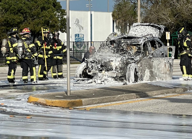 A Jaguar SUV was destroyed in a vehicle fire this week in Coral Springs.