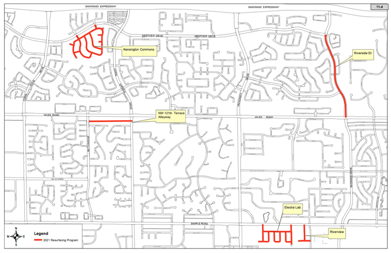 Map of planned street paving and sidewalk replacement projects in Coral Springs.