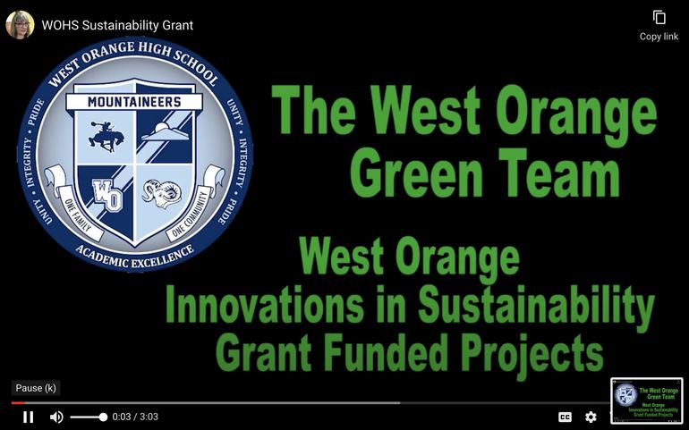 West Orange High School Receives $10,000 Sustainable Jersey for School Grants