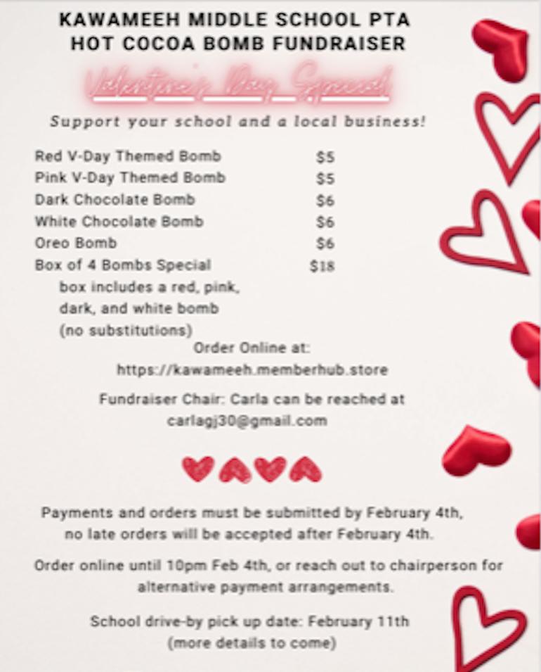 Kawameeh Middle School PTA Hot Cocoa Bomb Fundraiser