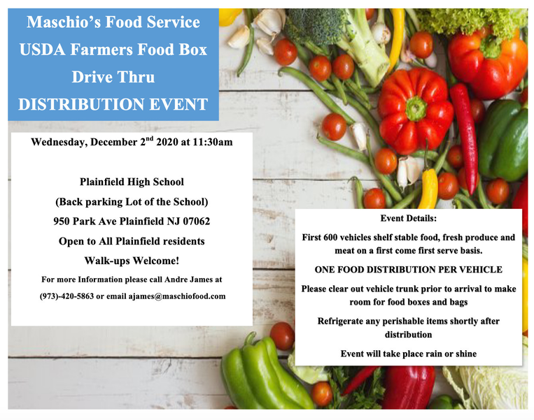 Food Box Distribution Event at Plainfield High School on Dec. 2