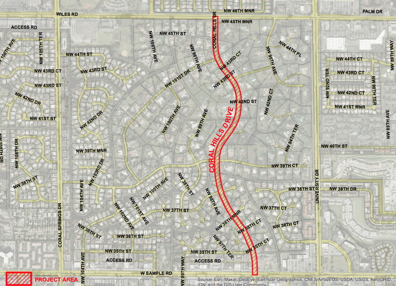 Coral Hills Drive from Sample Road to Wiles Road would get road and other improvements