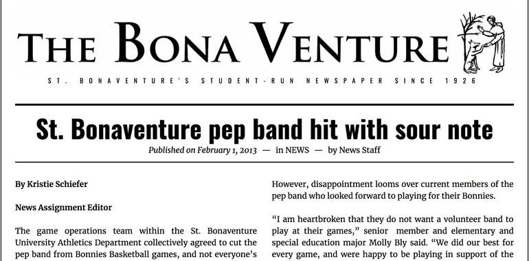 A Bona Venture Article From the Pep Band Shutdown