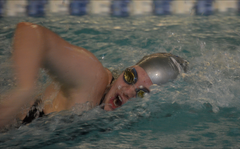Scotch Plains-Fanwood's Rachel Small swims in the winning 400 Freestyle Relay.png