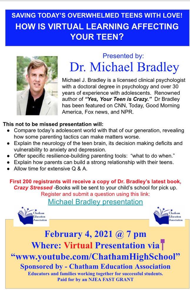 Clinical Psychologist Dr. Michael Bradley to Speak on 'How is Virtual Learning Affecting Your Teen?'; 7 p.m. Feb. 4
