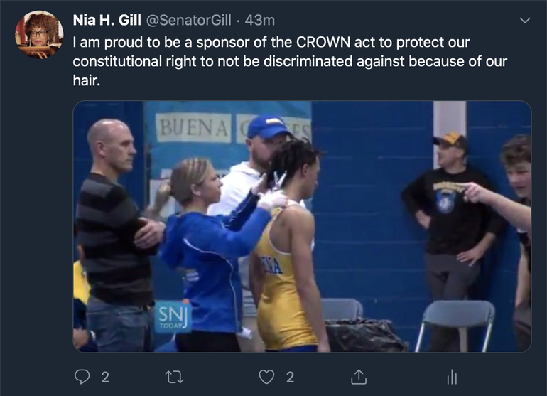 Senator Gills Tweet about CROWN Act