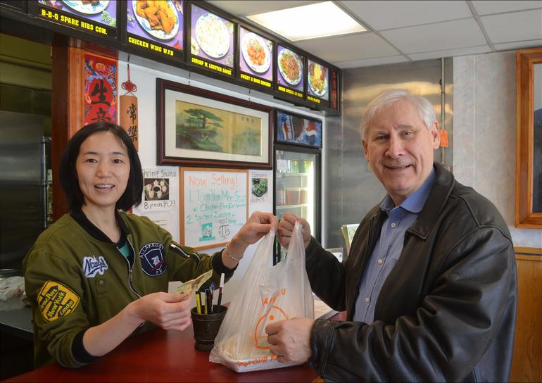 Scotch Plain Mayor Al Smith visits No. 1 Chinese Kitchen.