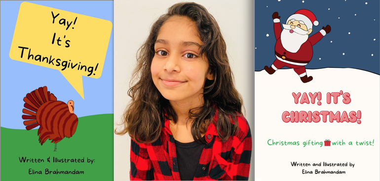 Livingston Fifth Grader Elina Brahmandam Writes and Publishes Two Holiday Books