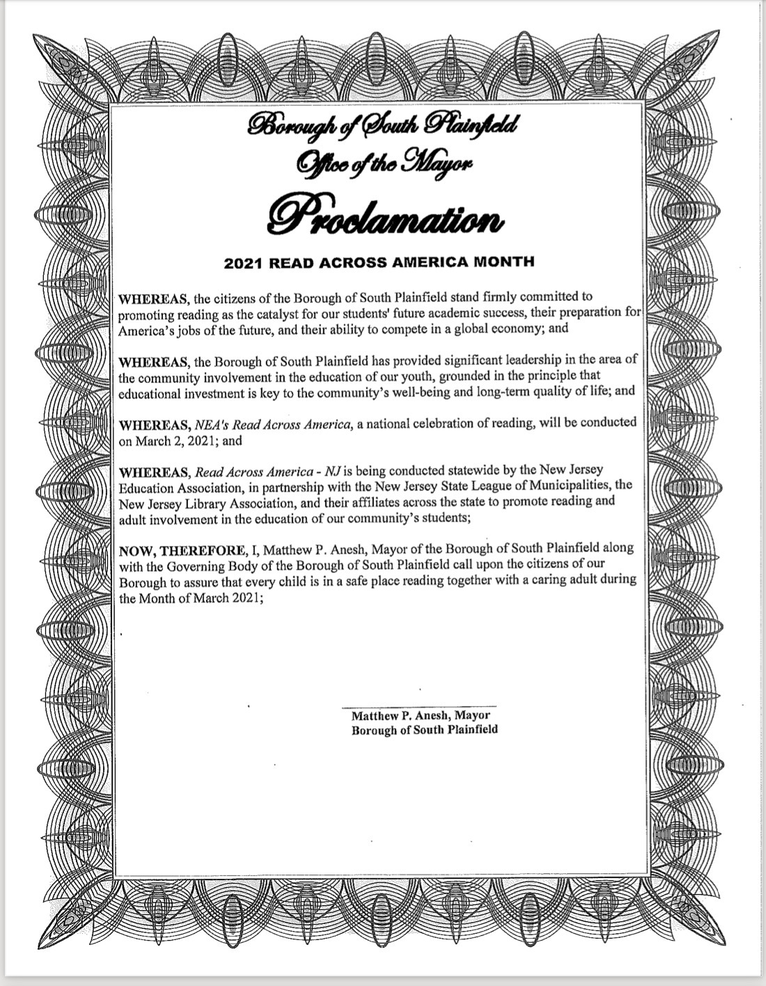 March 2021 Proclaimed as 'Read Across America' Month in South Plainfield